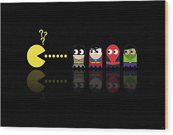 Pacman Superheroes Wood Print by NicoWriter