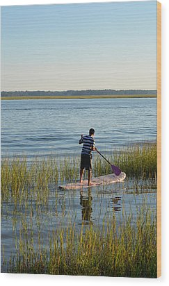 Wood Print featuring the photograph Paddleboarder by Margaret Palmer