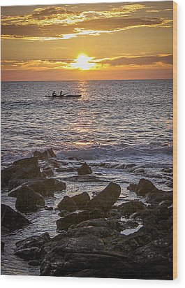 Paddlers At Sunset Portrait Wood Print
