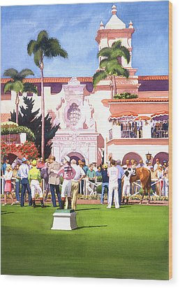 Paddock At Del Mar Wood Print by Mary Helmreich