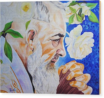Wood Print featuring the painting Padre Pio by Ze  Di