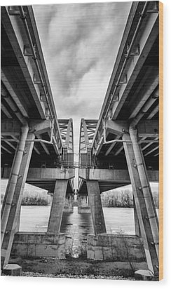 Page Bridge Geometry Wood Print by Bill Tiepelman