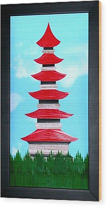 Wood Print featuring the mixed media Pagoda by Ron Davidson