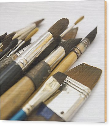Paint Brushes Wood Print by Bernard Jaubert