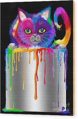 Paint Can Cat Wood Print by Nick Gustafson