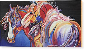 Paint Horse Colorful Spirits Wood Print by Jennifer Godshalk