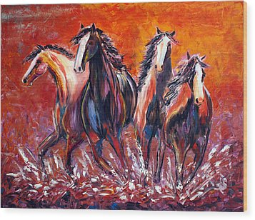 Wood Print featuring the painting Paint Horse Stampede by Jennifer Godshalk