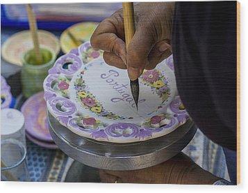 Paint On Plates Wood Print