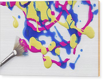 Paint Splatter Wood Print by Diane Diederich