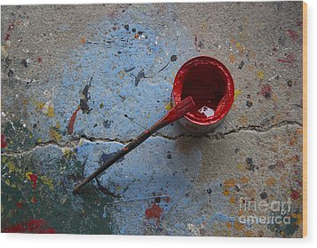 Paint The Town Red Wood Print by Nola Lee Kelsey