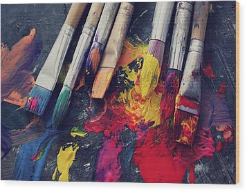 Paintbrushes  Wood Print by Bella  Harris