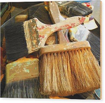 Paintbrushes Wood Print by Mamie Gunning