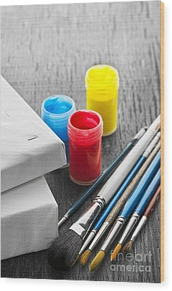 Paintbrushes With Canvas Wood Print by Elena Elisseeva