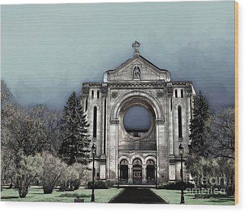 Wood Print featuring the digital art Painted Basilica 2 by Teresa Zieba