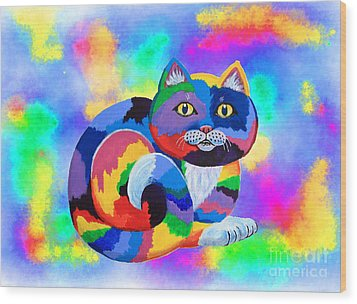 Painted Cat Wood Print by Nick Gustafson