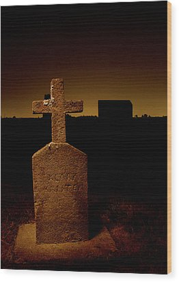 Painted Cross In Graveyard Wood Print by Jean Noren