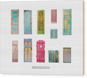 Painted Doors And Window Panes Wood Print