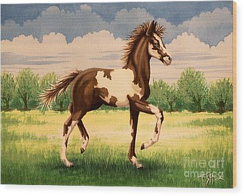Painted Foal Wood Print by Tish Wynne