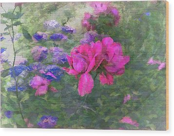 Painted Garden Wood Print by Larry Bishop