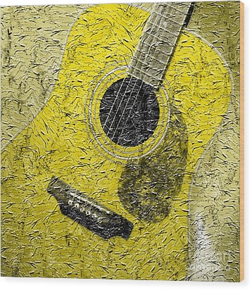 Painted Guitar - Music - Yellow Wood Print by Barbara Griffin