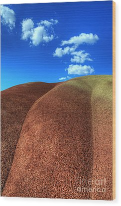Painted Hills Blue Sky 2 Wood Print by Bob Christopher