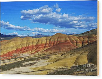 Painted Hills Blue Sky 3 Wood Print by Bob Christopher