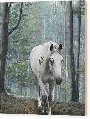 Painted Horse Wood Print by Diana Shively