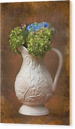 Painted Hydrangeas Wood Print by Trina  Ansel