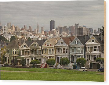 Painted Ladies Row Houses And San Francisco Skyline Wood Print by JPLDesigns