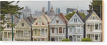 Painted Ladies Row Houses By Alamo Square Wood Print by JPLDesigns