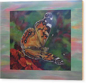 Painted Lady By Karen Peterson Wood Print by Karen  Peterson