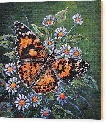 Painted Lady Wood Print