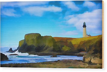 Painted Lighthouse Wood Print by Steve McKinzie