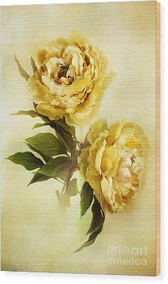 Painted Peonies Wood Print by Stephanie Frey