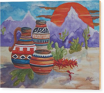 Painted Pots And Chili Peppers Wood Print