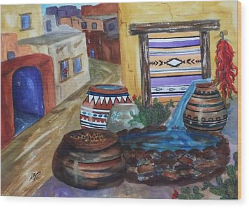 Painted Pots And Chili Peppers II  Wood Print by Ellen Levinson