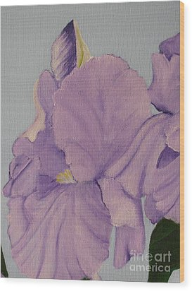 Wood Print featuring the photograph Painted Purple Irises by Margaret Newcomb