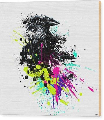 Painted Raven Wood Print by Jeremy Scott