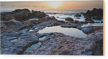 Painted Rocks At Golden Cove Wood Print by Adam Pender