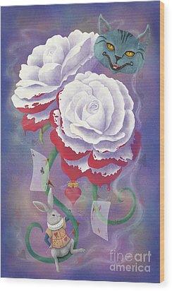 Painted Roses For Wonderland's Heartless Queen Wood Print by Audra D Lemke