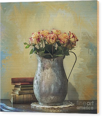 Painted Roses Wood Print by Terry Rowe