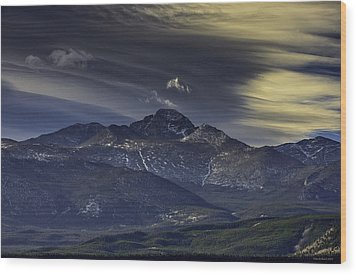 Painted Sky Over Longs Peak Wood Print by Tom Wilbert