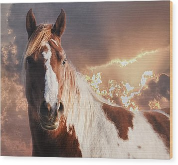 Painted Sunrise Wood Print by Ron  McGinnis