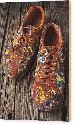 Painted Tennis Shoes Wood Print by Garry Gay