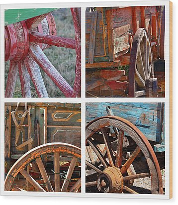 Painted Wagons Wood Print by Art Block Collections