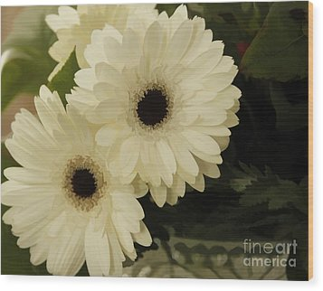Painted White Flowers Wood Print by Nancy Dempsey