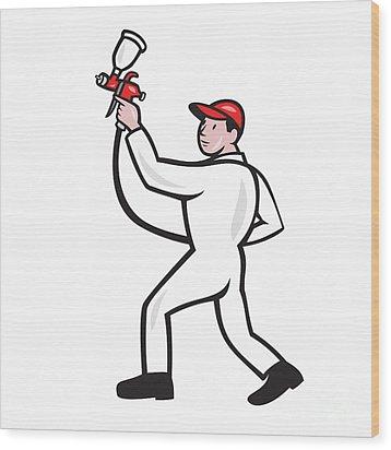 Painter Spray Paint Gun Side Cartoon Wood Print by Aloysius Patrimonio