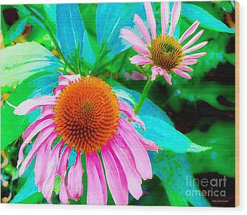 Painterly Coneflowers Wood Print by Annie Zeno
