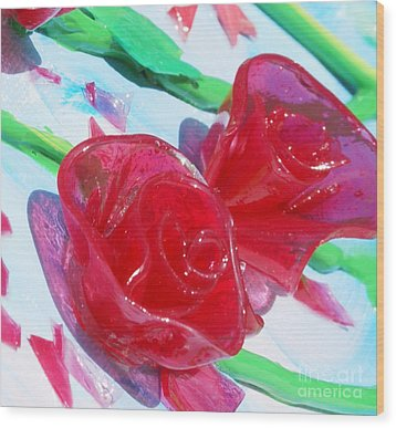 Painterly Stained Glass Looking Flowers Wood Print by Ruth Collis