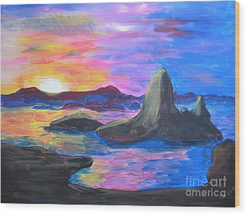 Painting     Grand Finale Wood Print by Judy Via-Wolff